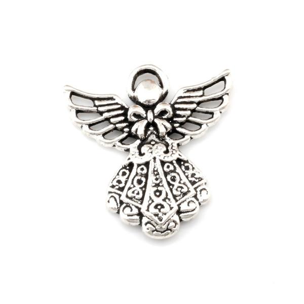 Schutzengel Charme Anhänger 100 Teile / los Antik Silber Modeschmuck DIY Fit Armbänder Halskette Ohrringe 23,5x26mm A-495