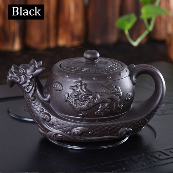 best selling Chinese Style Teapot Dragon-boat Tea Pot Big Capacity 400 ML Purple Clay Tea Set Kung Fu Teapot