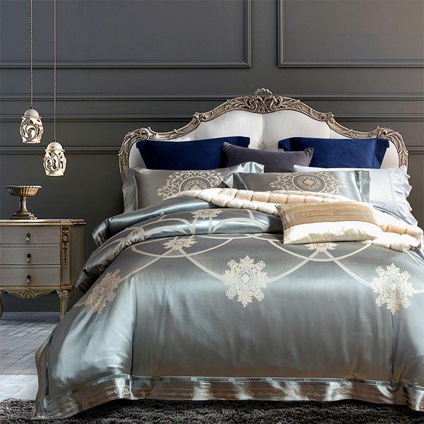 Gold Silver Luxury Satin Bedding set Red King Queen size Bed sheet set Linens Duvet cover Bed set juego de cama linge de lit