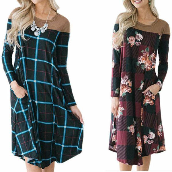 Autumn Women's ruffle beach Sundress 2019 tunic print Floral Long sleeve a-line dress summer evening Midi dress