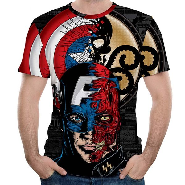 New MMA Fitness Compression Shirt Men Short-sleeved 3D Superman T-shirt Superheroes Captain America Brand Clothing Marvel T-shir FCDX068