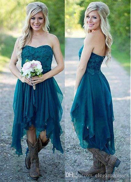 Lace Applique A-Line Bridesmaids Dresses Chiffon Sweetheart Short Ruffles Tea Length prom dress Vestidos Bridesmaid Maid Of Honor Cheap