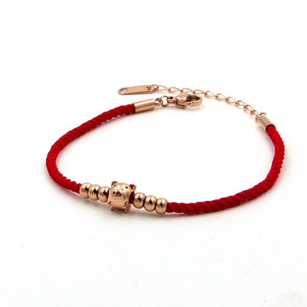 Go888Store 2019 Golden Pig Zodiac 6 Beads Red Rope Rose Gold Bracelet Red Rope Cute Pig Hand Jewelry Envío gratis