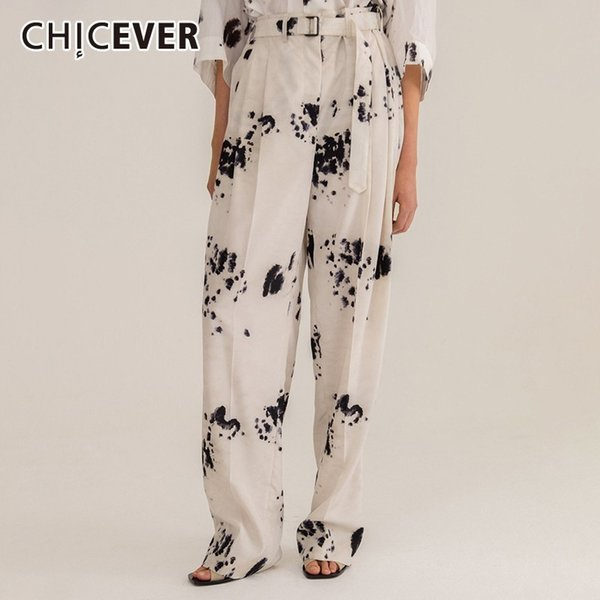 CHICEVER Summer Print Trousers For Women High Waist Sashes Plus Size Straight Wide Leg Pants Female 2019 Fashion Clothes New