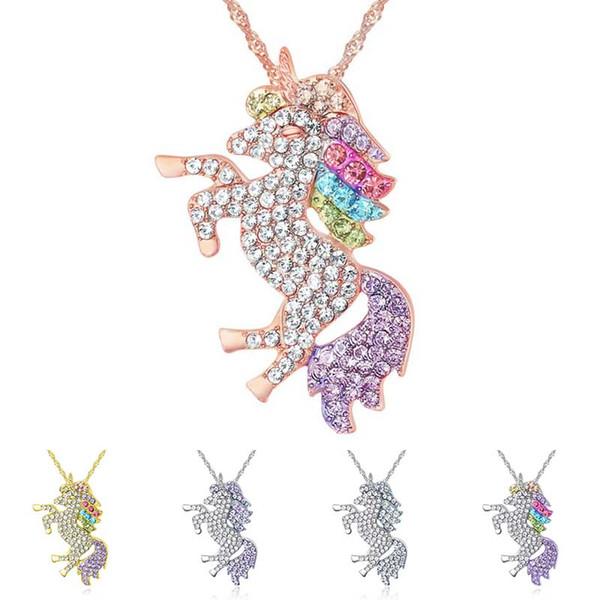 Crystal Unicorn Necklace Silver Gold Diamond Animal Unicorn Necklaces Pendant Women Necklaces Designer Fashion Jewlery Gift 380161