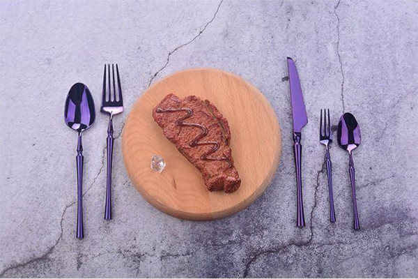 High-grade purple Cutlery Flatware Set Spoon Fork Knife Tea Spoon Stainless Steel Dinnerware Set Luxury Cutlery Tableware Set wn708C 30set