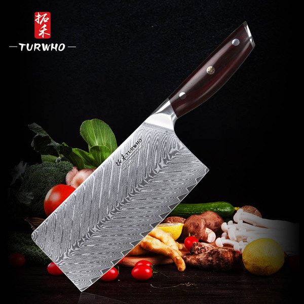 TURWHO7.5 '' Cuchilla Cuchillo 67 capas de acero de Damasco cuchillos de cocina nueva llegada rebanar el cuchillo con la buena calidad de la manija roja de sándalo
