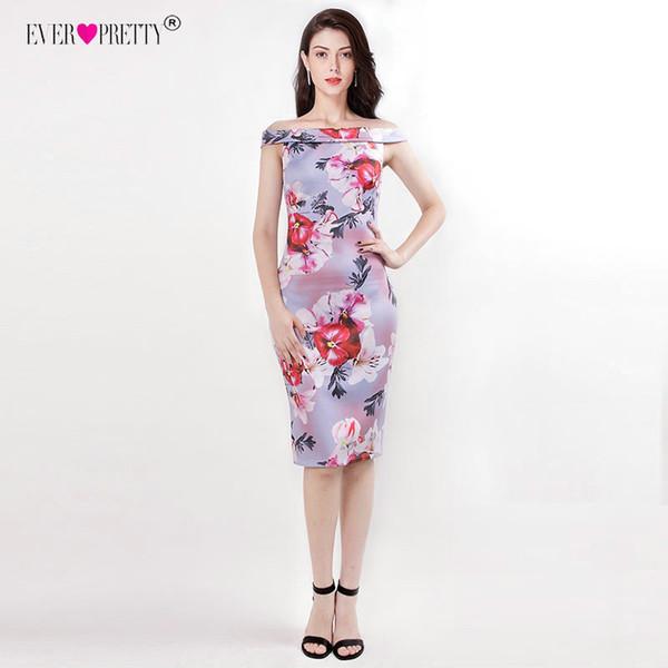 Knee Length Mother of The Bride Dresses Elegant Off The Shoulder Floral Print Short Party Gown Pretty Vestido Novia T190606