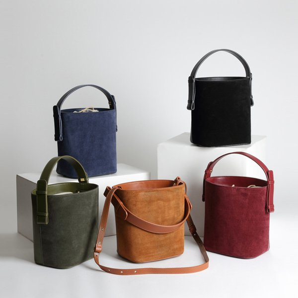 Luxurious2019 Cute Mini Can Shoulder Span Hand Carry Bucket Basket Matting Genuine Leather Mini- Package