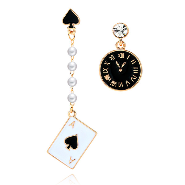 RAVINOUR Rock Dangle Earrings for Women Poker Card Alarm Clock Asymmetrical Statement Earring Long Created Pearl Fashion Jewelry