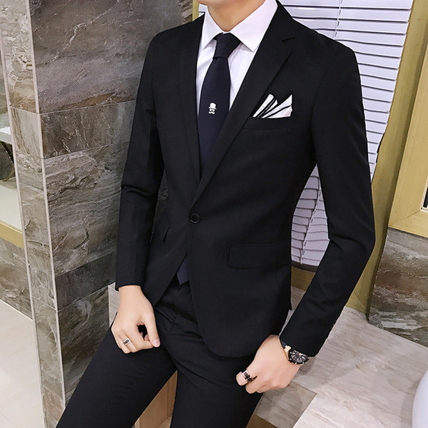 2pcs/set 2019 new fashion Korean style Slim Black Mens suit with pants High quality wedding suits for men dress Clothing men's