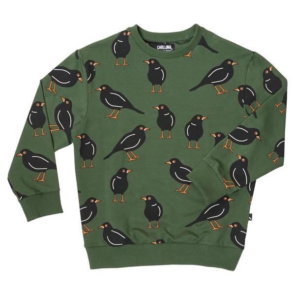 camisola pássaro verde