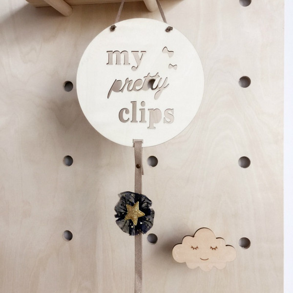Wood Baby Hair Clips Nordic Style Hair Accessories Photo Photos Storage Pendant Wooden round baby hairpin storage pendant cable