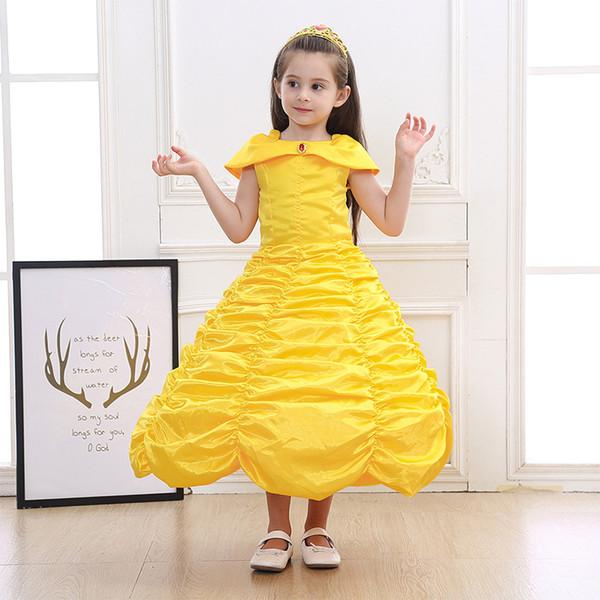 2019 fiesta de cumpleaños amarilla vestido de novia para la princesa de Navidad Kids cosplay disfraz de niña Big Girls Stage Performance Dress 2T-12T