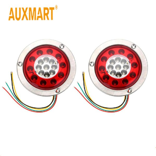 wholesale 2pcs 19 LED Car Trailer Truck Round Tail Brake Waterproof Light Turn Signal Stop Light Side Lamp Yellow and Red Light