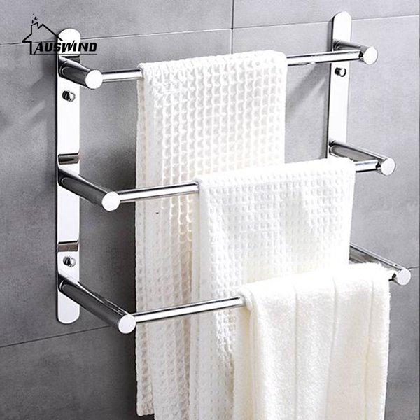 Toalla 304 acero inoxidable moderna escalera moderna de toallas de baño estante montado en la pared los productos accesorios de baño 38/48/58 SH190920