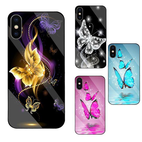 papillon rêve coloré cas miroir pour iPhone 6 6+ 6s 6s + 7 7+ 8 8+ X XR XS Max 11 Max Pro écran arrière en verre trempé de protection anti-choc