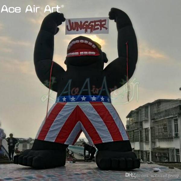6 m H modèle géant animal noir, gonflable King Kong, gorille gonflable avec le drapeau et le logo suspendu pour la publicité / affichage zoo