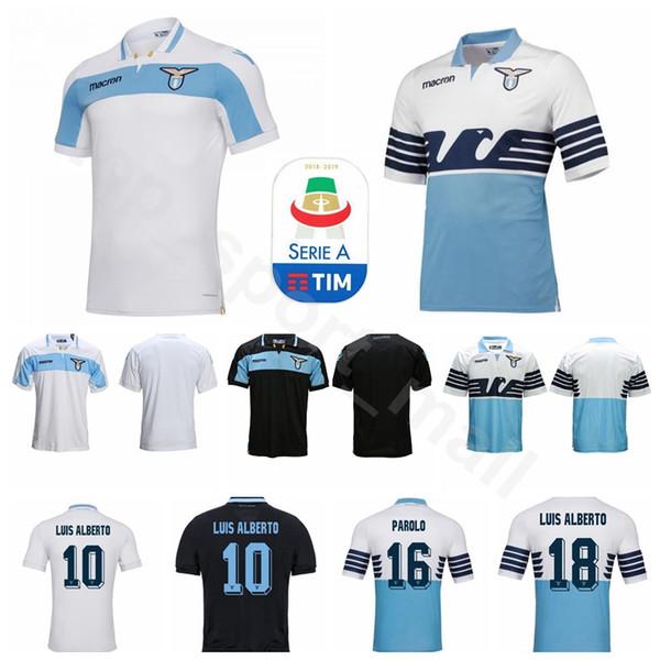 18 19 Sezon Erkekler Lazio Futbol 9 D JORD JEVIC Jersey 10 ANDERSON 6 LUCAS 7 KISHNA 15 BASTOS Futbol Gömlek Setleri Üniforma