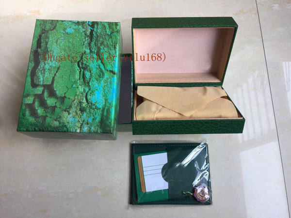 New Men Fashion Women Ladies Wristwatch Boxes Swiss Brand Men green Watch Box and Paper For Watches 116610 116660