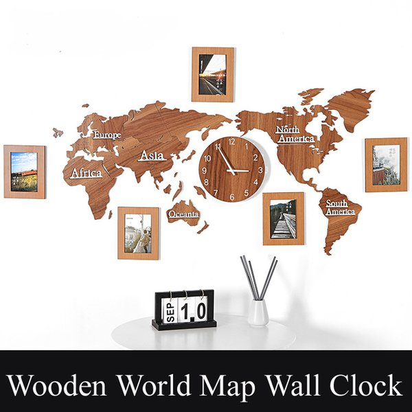 Wooden Digital Wall Clock DIY 3D World Map With 3 pieces Photo frame Living room Decorative Large Size Wall Sticker 10 Color