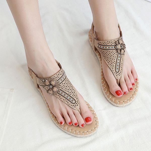 YOUYEDIAN Flat Sandals Women's Flower Shoes Crystal Fashion Buckle Beach Footwear Roman Bohemian Ladies Shoes chaussure femme