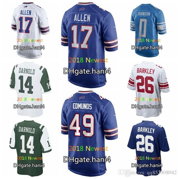 check out bae7f cb556 2019 2018 Draft Men Women Youth Jersey 17 Josh Allen 49 Tremaine Edmunds 0  Kerryon Johnson 26 Saquon Barkley Sam Darnold Jerseys From Duoduoba1, ...