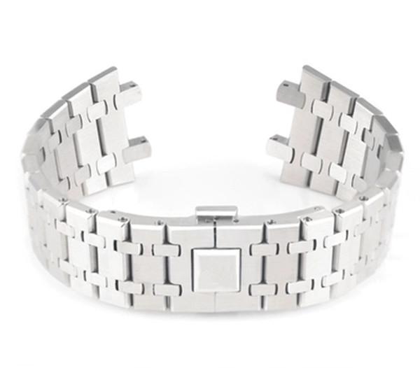 ремешок для часов 21мм 26мм серебра Мужчины женщина Полного браслет из нержавеющей стали диапазона вахты Для AP ремня пряжки логотипа