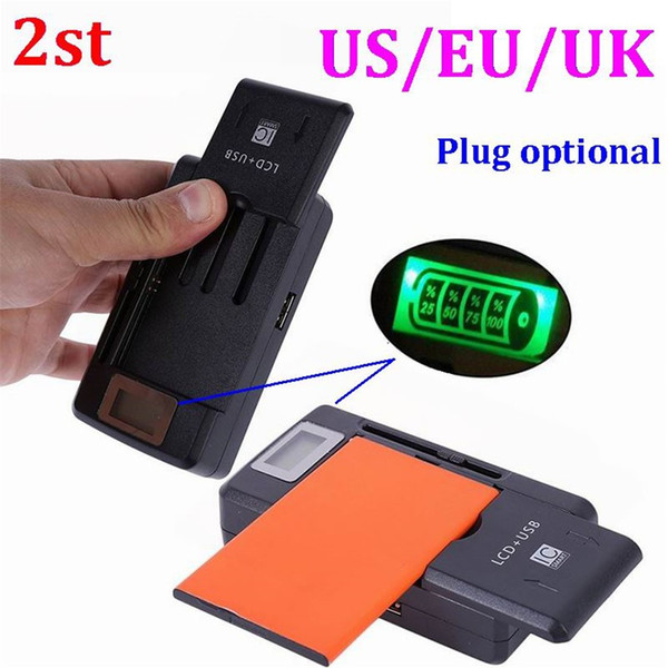 100pcs 2st 2 in 1 Multi-functional Mobile Universal Battery Charger dock with LCD display Screen For Cell Phones USB-Port