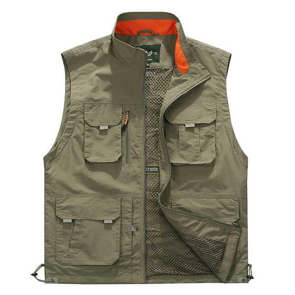 Casual Vest Men Breathable Waistcoat Summer Autumn Sleeveless Men Vest Multipockets Military Jacket Fashion colete masculino
