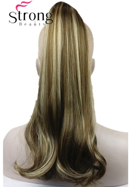Long Brown Highlights Lady Clip In Ponytail Pony Tail Hair Extension Claw On Hair Piece Straight many COLOUR CHOICES