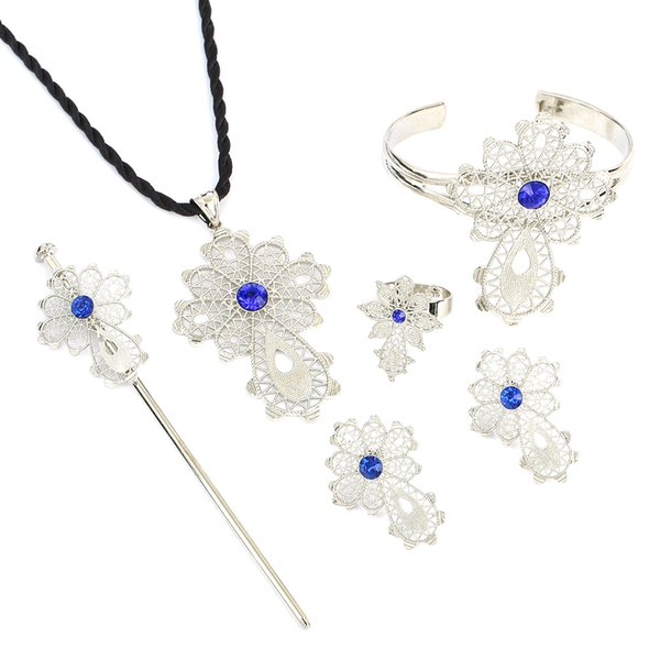 New Ethiopian Cross Jewelry Sets White Gold Color Fashion Blue Green Red Stone Cross Sets For African Traditional Festival