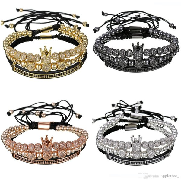 Crown Charm Bracelet Men mens Luxury Bracelets Designer Jewelry Women braclet womens bangles bangle Fashion accessories 3pcs set New