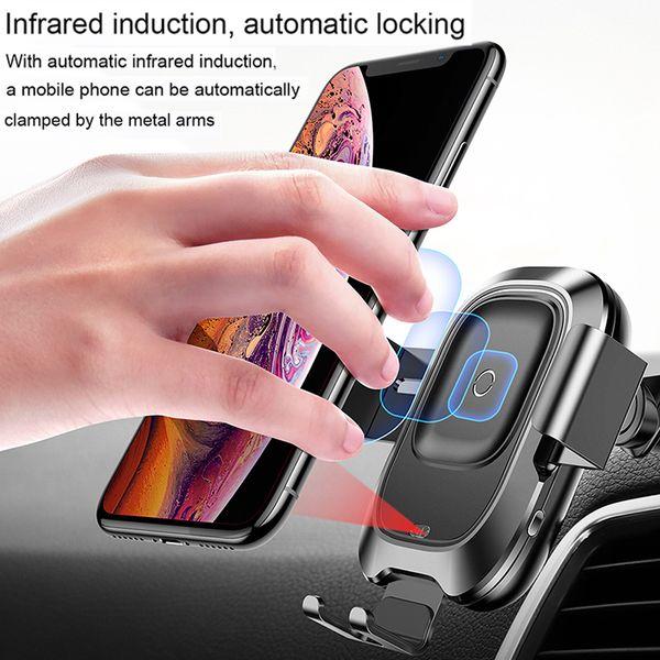 WEISY Supporto per caricabatteria per Auto Wireless Caricatore Wireless per Qi Automatic Clamping Supporto per caricabatteria per Auto Veloce per iPhone X//iPhone 8//8 Plus Samsung
