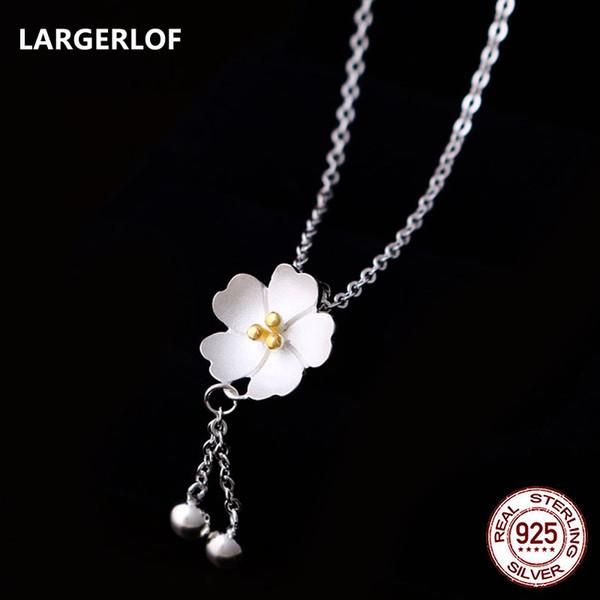 LARGERLOF 925 Ayar Gümüş Kolye Kolye Çiçek Kolye Kadın Yüksek Takı Çiçek Kolye