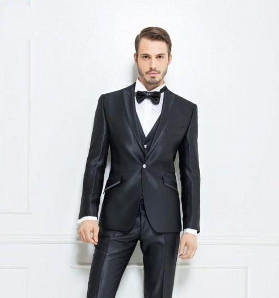 Fashionable One Button Shiny Black Groom Tuxedos Peak Lapel Men Wedding Party Groomsmen 3 pieces Suits (Jacket+Pants+Vest+Tie) K213