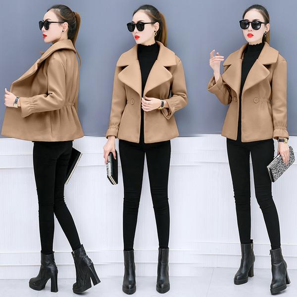 Abito da donna slim cappotto nuovo cappotto di panno di tweed cappotto corto coreano moda donna abiti solidi abiti casual design taglia S-XXL