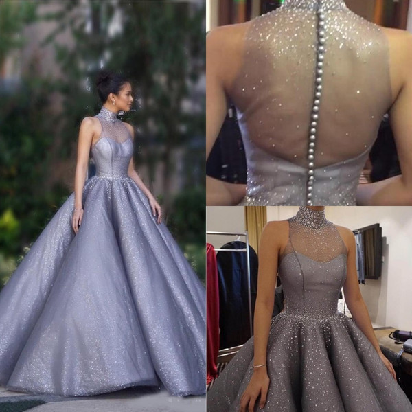 Elegant High Neck Beaded Evening Dresses Pearls Beaded Ball Gown Prom Party Formal Wear Illusion Back Lavender Vestido