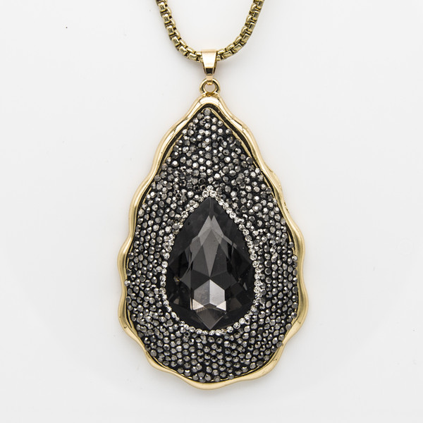 New Style Designer Black Rhinestone Crystal Water Drop Shape Clay Filled Pendant Chain Necklace Couture Jewelry Gifts for Women Wholesale