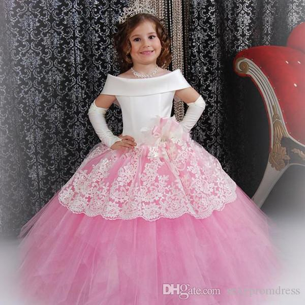 Gorgeous White Scoop Neckline Girls Pageant Dresses 2019 Pink Lace Tiered Tulle Lace Up Floor Length Flower Girl Dresses For Wedding