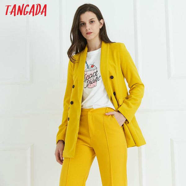 Tangada mulheres amarelo paletó blazer formal double breasted bolsos outwear trabalho escritório terno de negócios outwear SL115