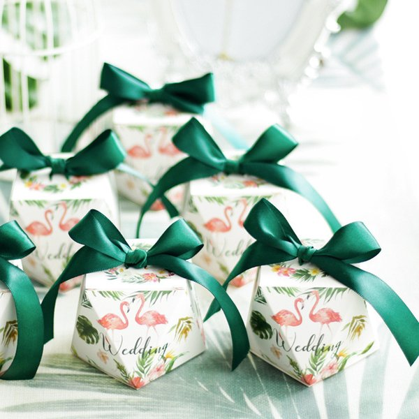 Flamingo Diamond Candy Box Wedding Favors And Gifts Boxes With Ribbons Candy Bags for Guests Wedding Decoration Baby Shower Party Supplies