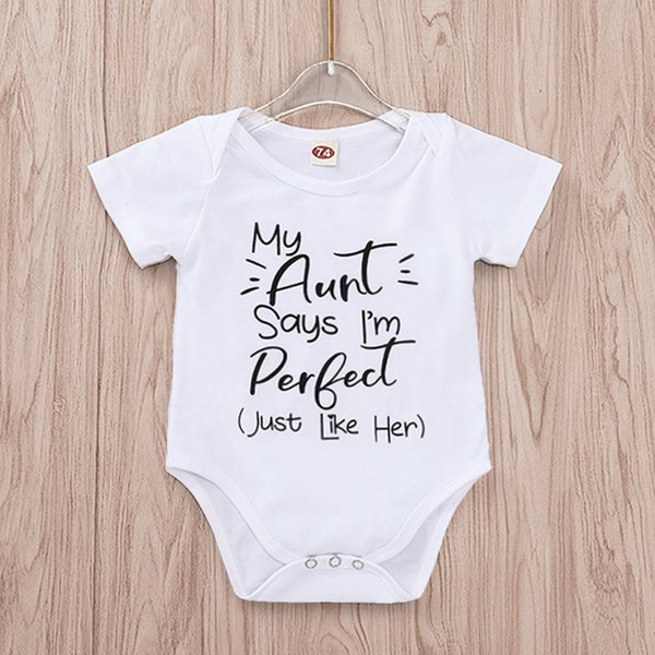 89d2b9dcd35d2 2019 2019 New Fashion Tiny Cottons Summer 2019 White Onesie My Aunt Says  I'M Perfect Letter Print Newborn Bodysuits Summer Auntie Baby Clothes From  ...