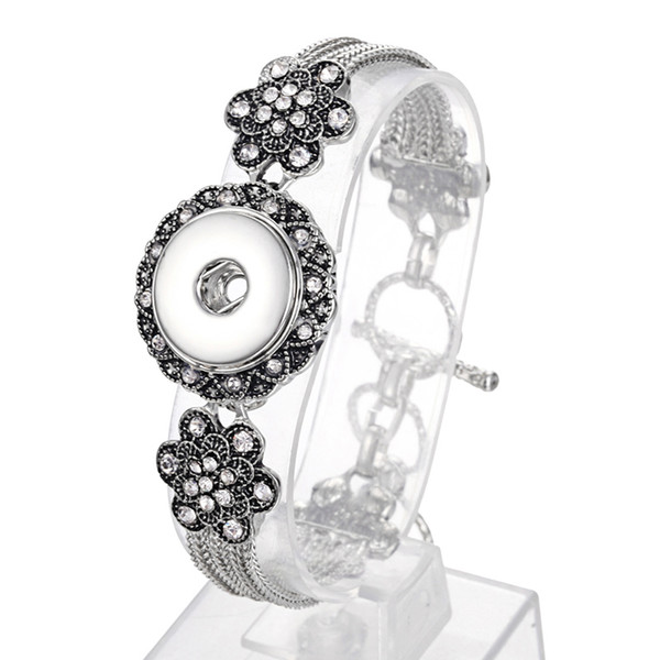 Fashion Carved Flowers Interchangeable 178 Metal 18mm snap Button Bracelet&Bangle Charm Jewelry For Women Men Gift