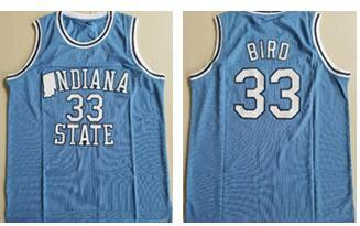 Mens Indiana State Sycamores Bird Vintage ISU Blue Larry Green Springs Valley High School Black Soul Swingman College Basketball Jersey