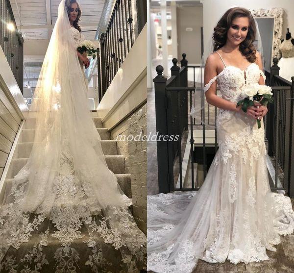 Charming Lace Mermaid Wedding Dresses 2019 Spaghetti Sweep Train Appliques Garden Country Summer Bridal Gowns vestido de novia Cheap