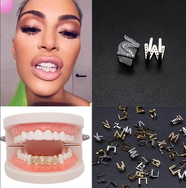Золото Белый Iced Out A-Z Пользовательские Письмо Grillz Полный алмаз Зубы DIY Fang Грили Косплей Зуб Cap Hip Hop Стоматологический рот зубов Брекеты T591