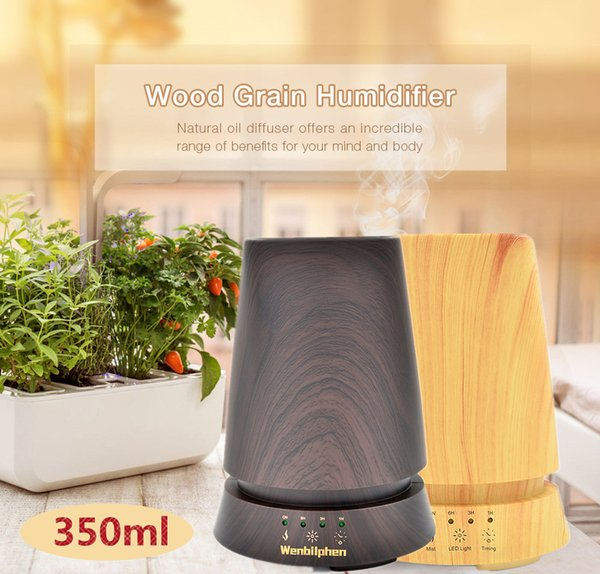 Brand New 350ml Columnar Wood Ultrasonic Air Humidifier Aroma Diffuser Essential Oil Aromatherapy Mist Maker 4 Time Mode Waterless Auto-Off