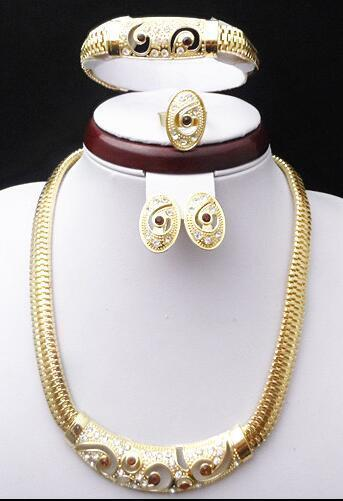 18K Gold Plated Wedding Bridal Jewelry Sets Dubai Gold Plated Accessory Sets 650 African Fashion Costume Jewelry Set