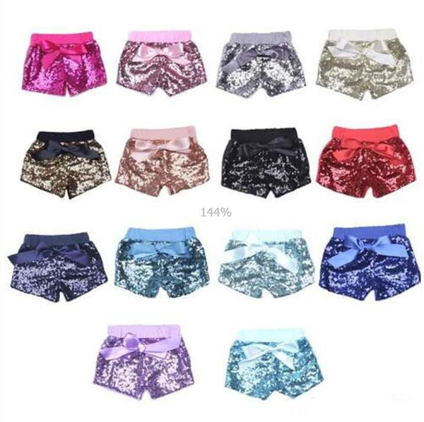 best selling Baby Sequins Shorts Summer Pants Girls Glitter Bling Dance Party Shorts Sequins Costume Glow Bowknot Shorts Fashion Boutique Trousers A2250
